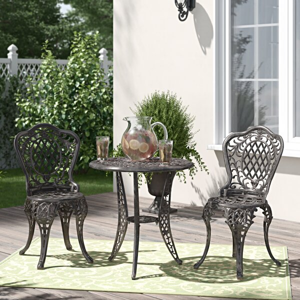 Roscoe 3 Piece Bronze Cast Aluminum Outdoor Bistro Set by Fleur De Lis Living