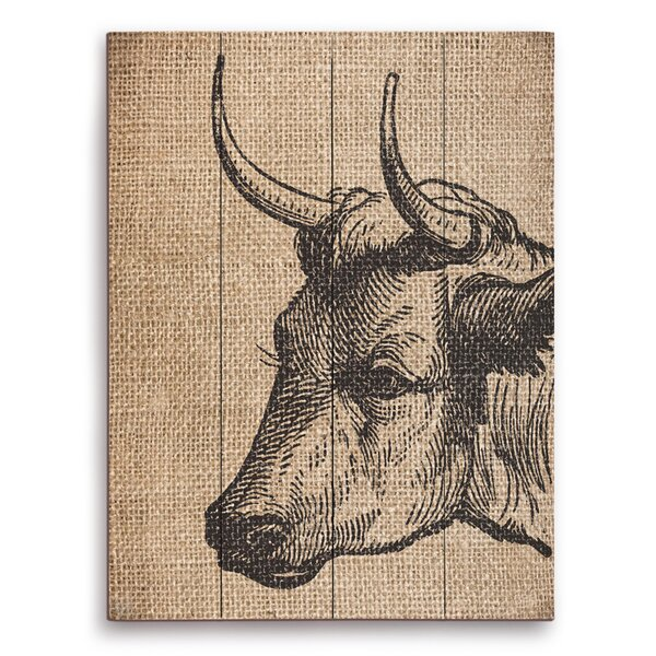 Burlap Bull Painting Print on Plaque by Click Wall Art