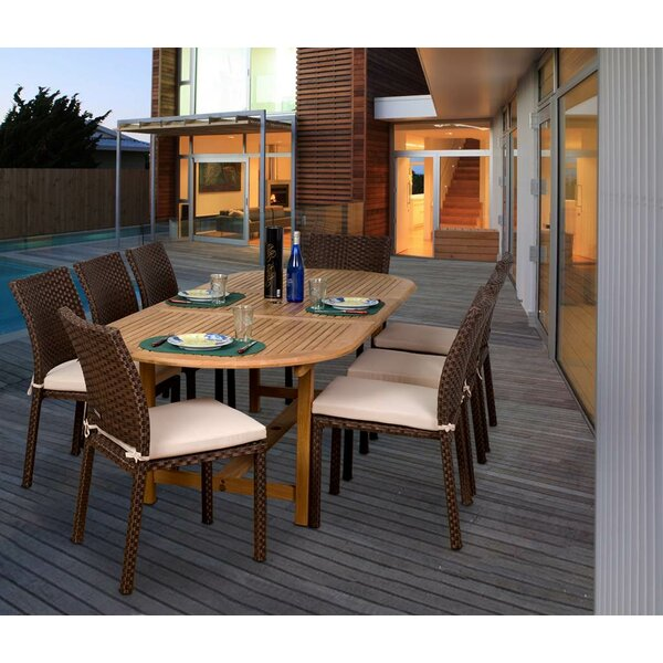 Arango 9 Piece Teak & Wicker Dining Set by Beachcrest Home