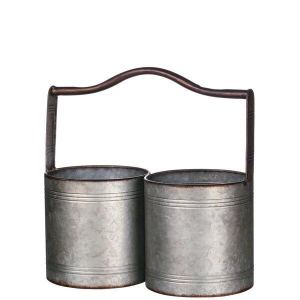 Lisk Double Metal with Handle Pot Planter by Gracie Oaks