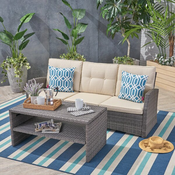 Loganville Outdoor 2 Piece Rattan Sofa Seating Group with Cushions by Rosecliff Heights