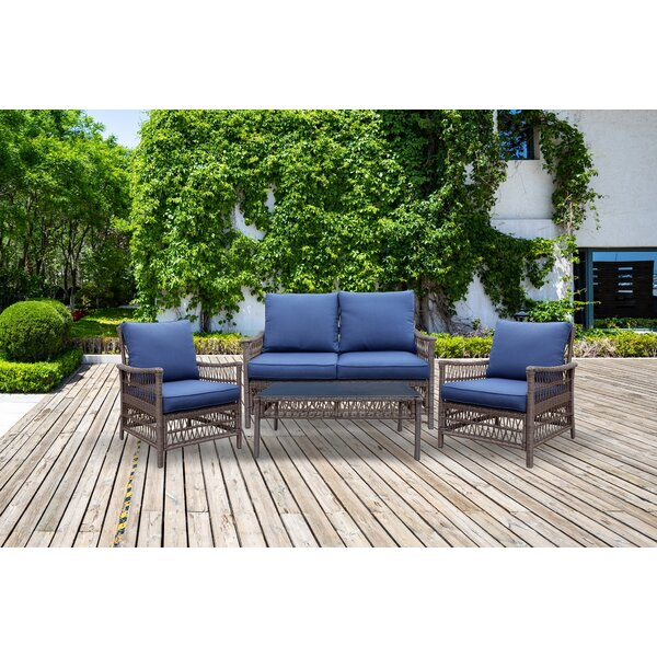 Beauregard 4 Piece Sofa Seating Group with Cushions by Longshore Tides