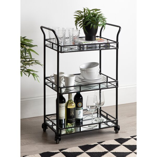 Menachem Metal 3 Tiered Tray Bar Cart by Bungalow Rose Bungalow Rose