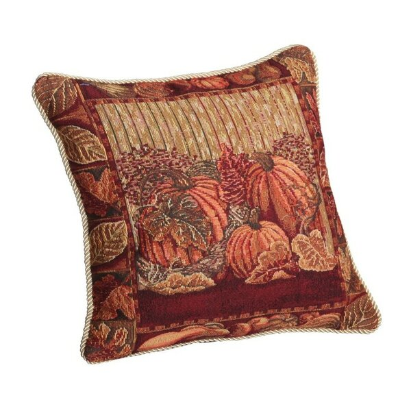 Fall Harvest Pumpkins and Autumn Leaves Pillow Cover by Violet Linen