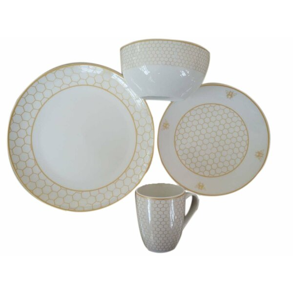 Champi Honeycomb Porcelain Coupe 16 Piece Dinnerware Set by Red Barrel Studio