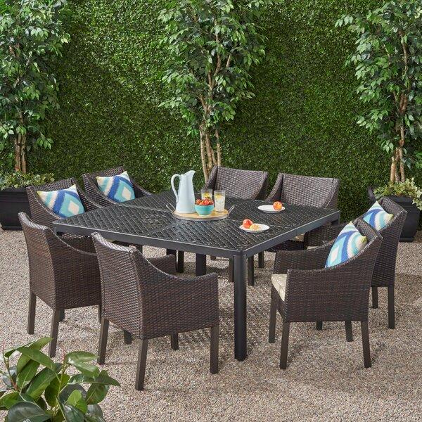 Elledge Outdoor 9 Piece Dining Set with Cushions by Brayden Studio