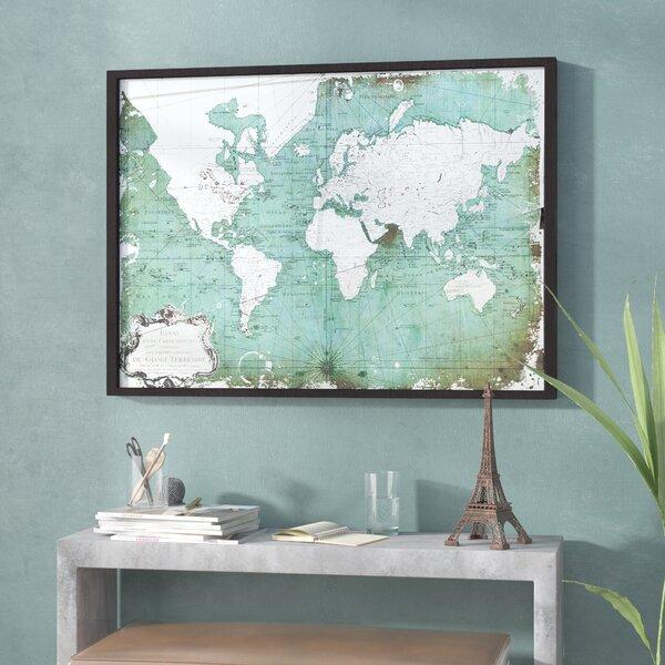 Antiqued World Map Framed Graphic Art Print by Trent Austin Design
