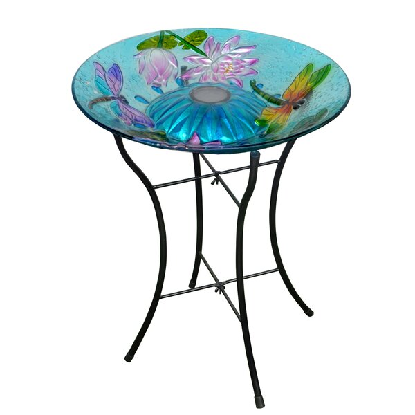 Outdoor Garden Dragonfly Glass Birdbath by Peaktop