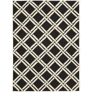 Best Price Hulings Hand-Knotted Wool Black/White Area Rug ByAlcott Hill