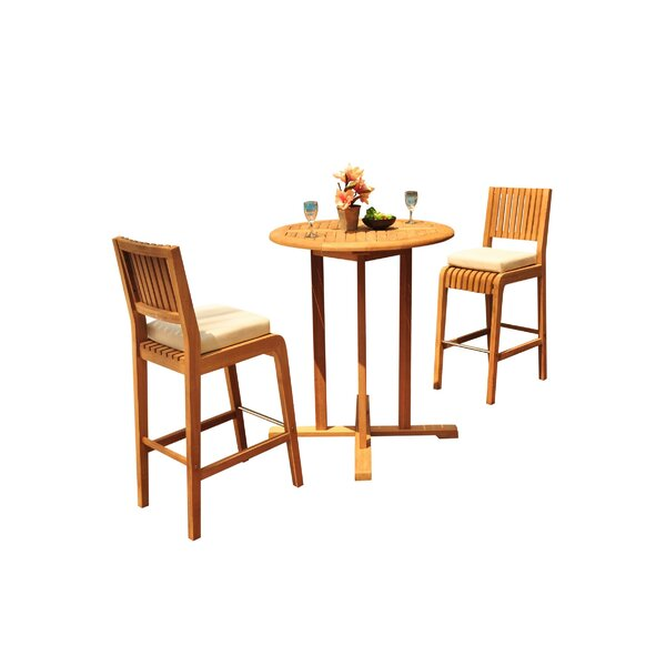 Mastin 3 Piece Teak Bar Height Dining Set by Rosecliff Heights