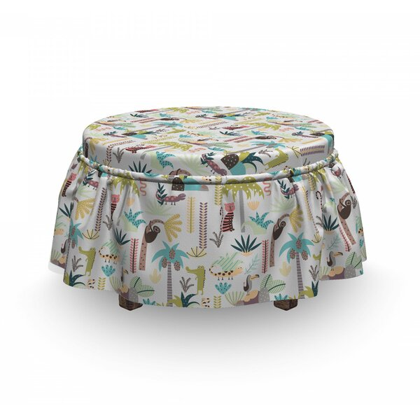 Tropic Forest Animals Ottoman Slipcover (Set Of 2) By East Urban Home