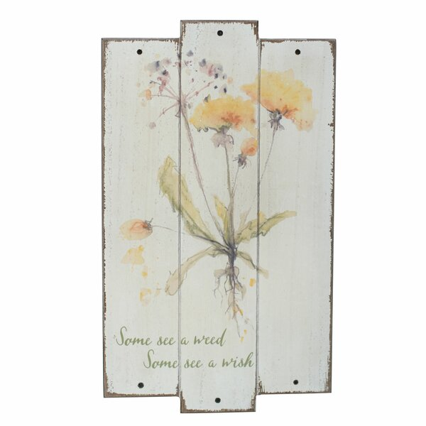 Dandelion Flower Plaque Wall Décor by August Grove