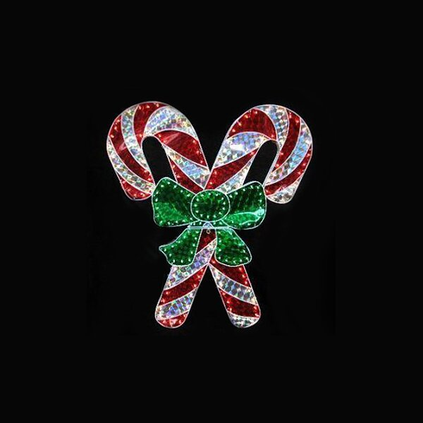 Holographic Lighted Double Candy Cane Christmas Lamp by LB International