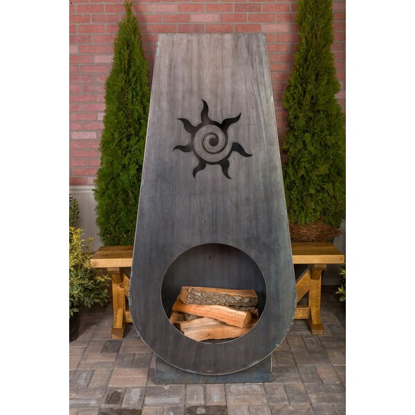 Suns Fire Steel Wood Burning Outdoor fireplace by Ember Haus