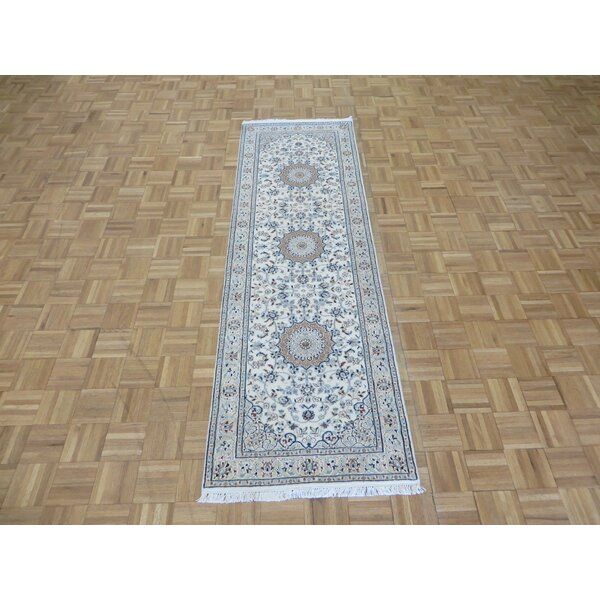 One-of-a-Kind Eleonor Nain Hand-Knotted Ivory/Tan Area Rug by World Menagerie
