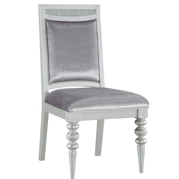 Leadington Fabric Upholstered Side Dining Chair In Silver (Set Of 2) By Everly Quinn