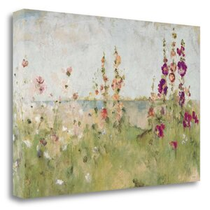 'Hollyhocks by the Sea' Print on Canvas by Tangletown Fine Art
