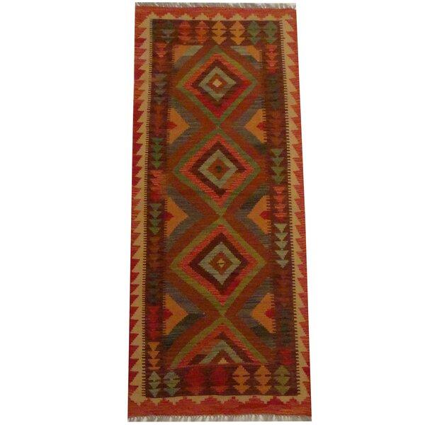 Kilim Hand-woven Rust/Beige Area Rug by Herat Oriental