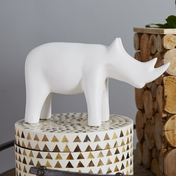 Rhino White Figurine by DwellStudio