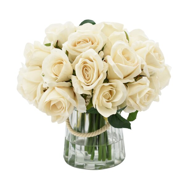 Cream Rose Centerpiece in Vase by House of Hampton