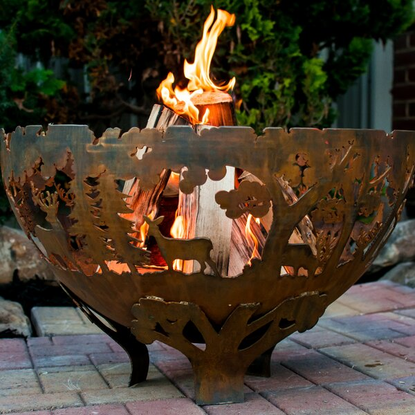 Laser Cut Wildlife Steel Wood Fire Pit by EsschertDesign