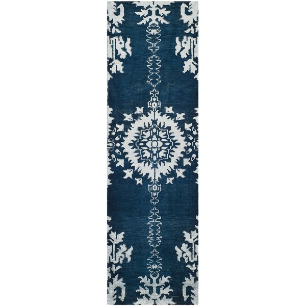 Moulouya Hand-Knotted Indigo Area Rug by Bungalow Rose