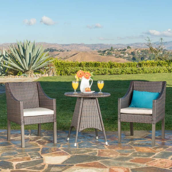 Crase Outdoor 3 Piece Bistro Set with Cushions