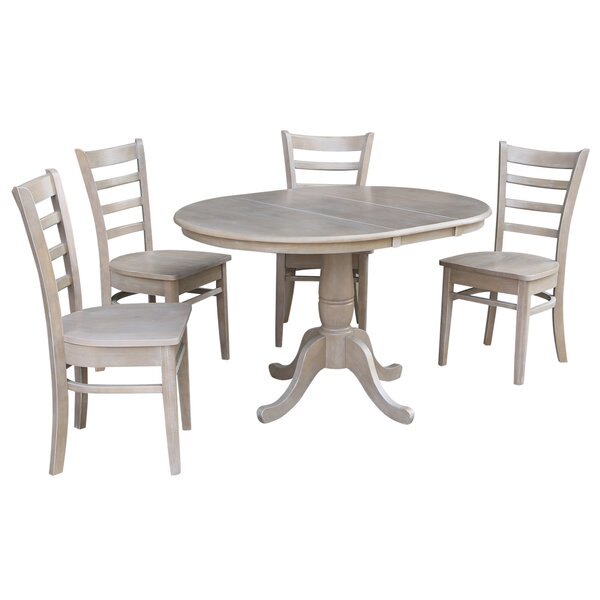 Petra Extendable Pedestal 5 Piece Solid Wood Dining Set by August Grove
