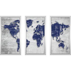 Moody Blue World by BY Jodi 3 Piece Framed Painting Print Set by Picture Perfect International