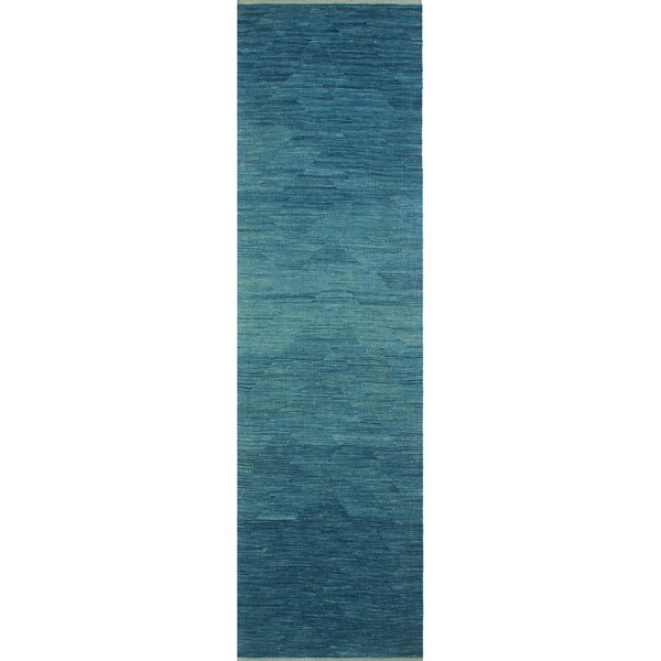 Dickie Hand-Knotted Wool Blue Area Rug by Bloomsbury Market