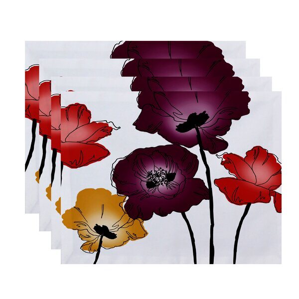 Poppies Floral Print Placemat (Set of 4) by East Urban Home