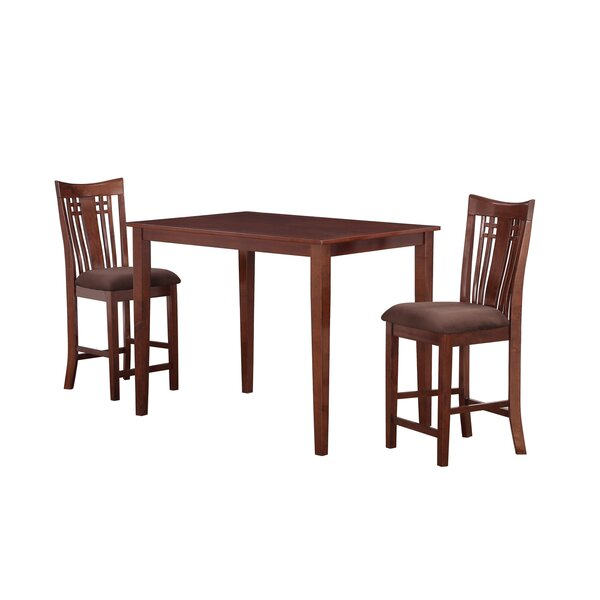 Flossmoor 3 Piece Solid Wood Dining Set by Charlton Home