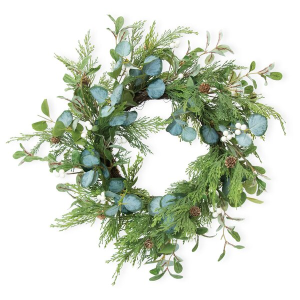 Evergreen and Eucalyptus 20 Plastic Wreath by The Holiday Aisle