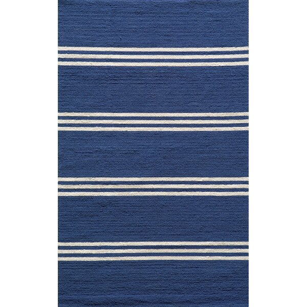 Dreadnought Hand-Hooked Blue Indoor/Outdoor Area Rug by Breakwater Bay