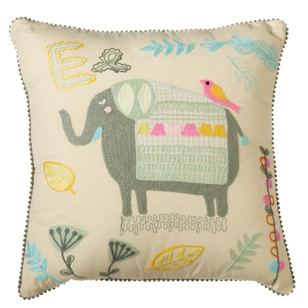 Piatt Embroidered Elephant Cotton Throw Pillow by Harriet Bee