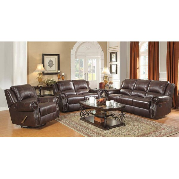 Review Algona 3 Piece Leather Reclining Living Room Set