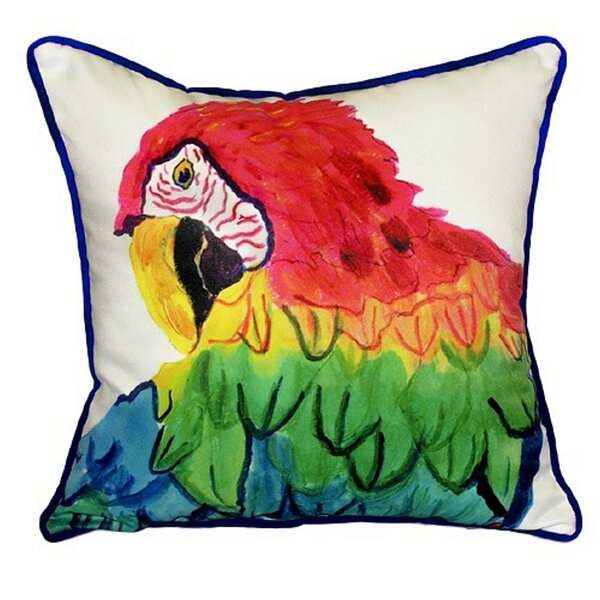 Parrot Head Indoor/Outdoor Throw Pillow by Betsy Drake Interiors