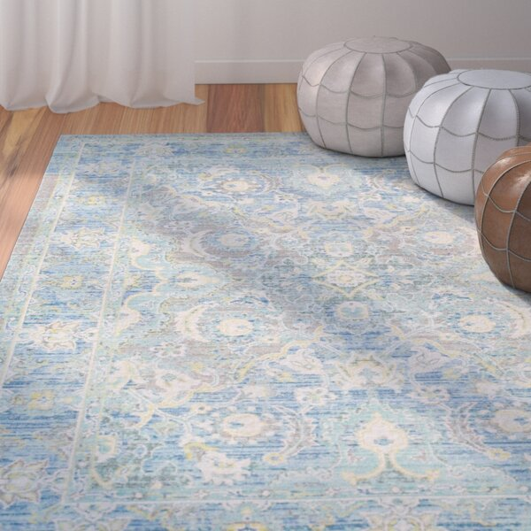 Lyngby-Taarbæk Floral and Plants Aqua Area Rug by Bungalow Rose