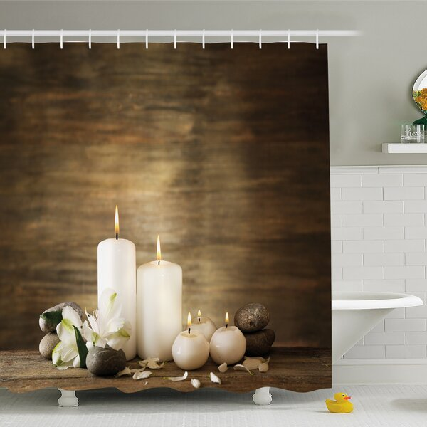 Spa Composition of Pure Candles Wooden Background with Stones and Flower Petals Shower Curtain Set by Ambesonne