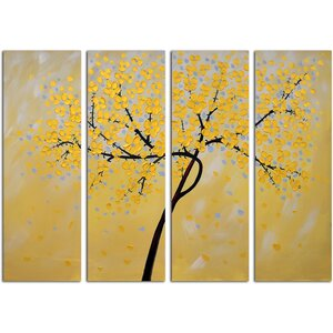 'Petals' 4 Piece Painting on Canvas Set by Red Barrel Studio
