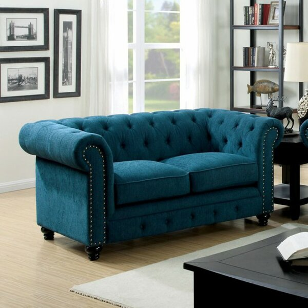 Chappell Traditional Style Chesterfield Loveseat by House of Hampton