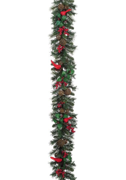 Cardinal, Holly and Pine Garland by Silk Flower Depot