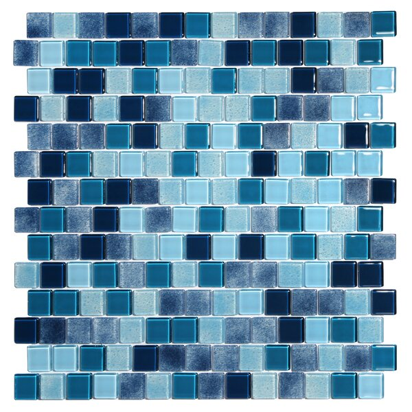 Tides 0.75 x 0.75 Glass Mosaic Tile in Ultramarine by Kellani