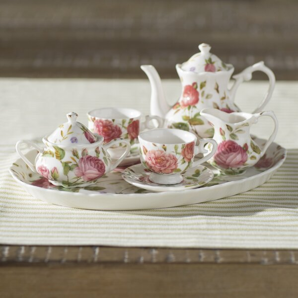 Nils 8 Piece Porcelain Mini Saddlebrooke Tea Set by Lark Manor