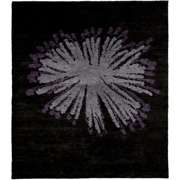 One-of-a-Kind Bezout Hand-Knotted Tibetan Black 8' Square Wool Area Rug