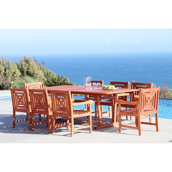Monterry 9 Piece Solid Wood Dining Set by Beachcrest Home
