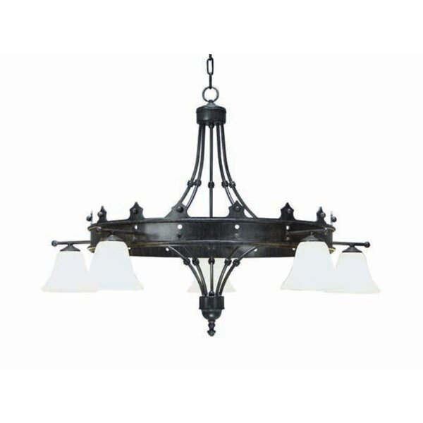 5 - Light Shaded Wagon Wheel Chandelier by 2nd Ave Design 2nd Ave Design