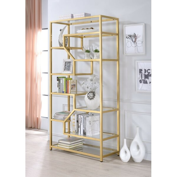Gatlin Metal Glass Etagere Bookcase by Everly Quinn