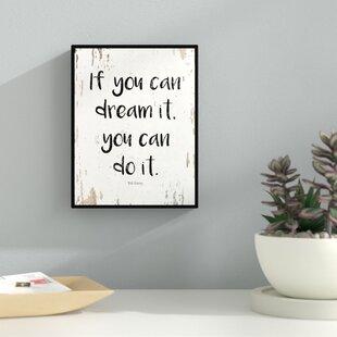 Charmant U0027If You Can Dream It You Can Do It Walt Disneyu0027 Framed Textual Art On Canvas