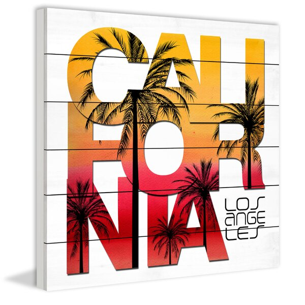 Cali Sunset Palms Graphic Art on Wood by Marmont Hill
